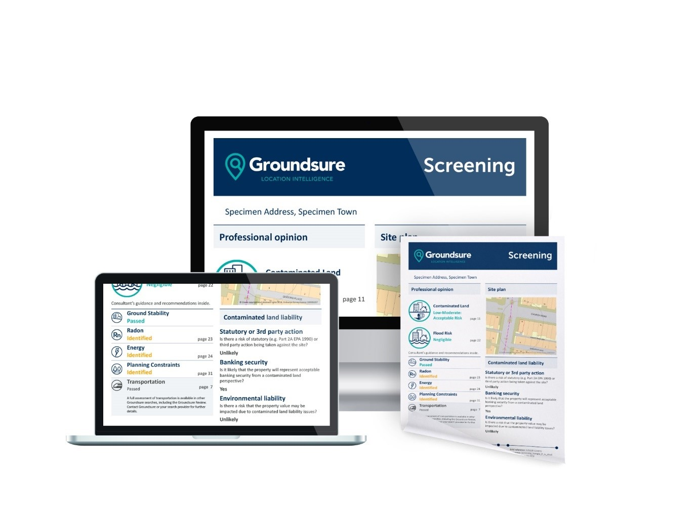 Groundsure Commercial Screening report layout